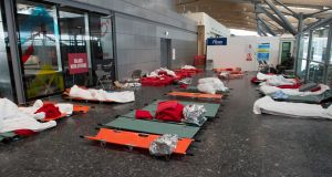 Camp beds in the terminal at Cork Airport, on which stranded passengers spent  Wednesday night. Photograph: Michael Mac Sweeney/Provision