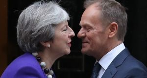 Britain's Prime Minister Theresa May greets European Council President Donald Tusk at 10 Downing Street in London on March 1st, 2018. Photograph: Daniel Leal-Olivas/AFP/Getty Images