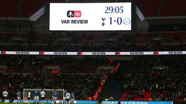 VAR dominated Tottenham's FA Cup win over Rochdale on Wednesday night. Photograph: Catherine Ivill/Getty