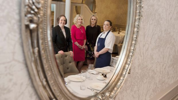 General manager and sommelier Bláithín McCabe, Amelda Maguire, wife of Neven Maguire, office manager Andrea Doherty and head chef Carmel McGirr at MacNean House & Restaurant. Photograph: Alan Betson