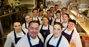 Neven Maguire with head chef Carmel McGirr (right) and the rest of the team at MacNean House in Blacklion, Co Cavan. Photograph: Alan Betson