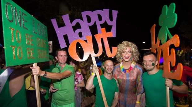 Panti Bliss with members of the Sydney Queer Irish group.