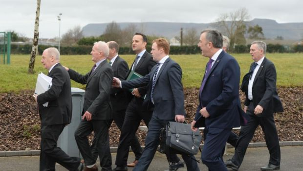 Pyongyang on the Garavogue: Taoiseach Leo Varadkar with the Cabinet in Sligo last month for the launch of Project Ireland 2040. Photograph: Alan Betson
