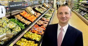 Aldi's incoming chief executive, Giles Hurley, in the German discount retailer's store in Sallynoggin, Dublin. Photograph: Cyril Byrne