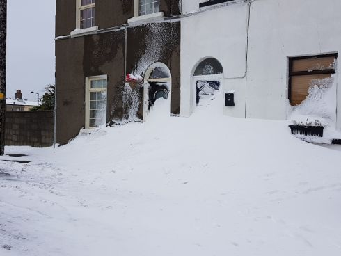 Houses snowed in at the CIE Estate, Inchicore. Photograph: Gavin Ó'Ceallachain