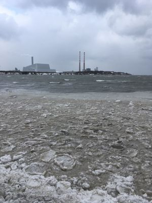 Frozen sea at Sandymount Strand this morning. Photograph: Gwen Duffy