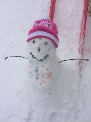 A snowman, chickenpox included. Photograph: Jill Moore