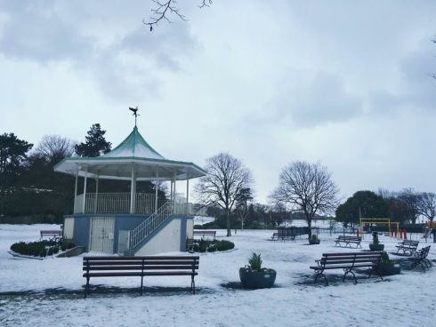 Snow on the bandstand at Blackrock. Photograph: Michael  Saez