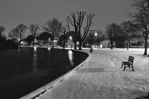 Nighttime black and white photo of 'The Lough' in Cork City. Photograph: Sarah Dowling