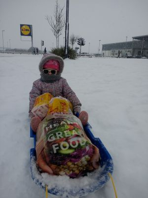 Three year old Avelynn Molloy from Co Waterford runs some errands. Photograph: Shane Molloy