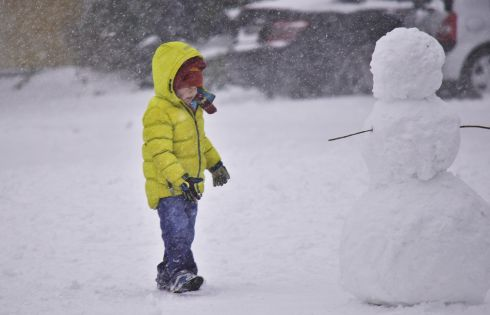 That's a tall snowman. Photograph: Abhay Choudhary