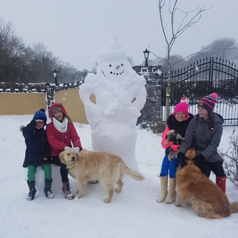 Dogs and snowmen after Storm Emma. Photograph: Colette coyne