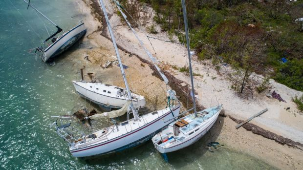 Sail boats washed ashore on Wisteria Island, Key West during Hurricane Irma.