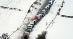 Cars and lorries stuck on A1 between Morpeth and Alnwick as the severe weather conditions continue. Photograph: PA