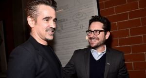 Colin Farrell and JJ Abrams attend the Oscar Wilde Awards 2018 at Bad Robot on March 1, 2018 in Santa Monica, California. Photograph: Alberto E. Rodriguez/Getty Images for US-Ireland Alliance