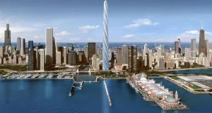 The proposed Chicago Spire: The 1,200-unit scheme was designed by renowned Spanish architect, Santiago Calatrava, while actor Liam Neeson was recruited to help with the pre-construction sales launch.