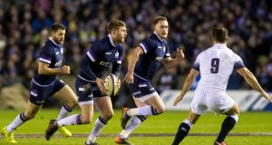 Finn Russell: backed himself in the crucial moments which helped fashion a famous victory over England at Murrayfield. Photograph: Craig Watson/Inpho