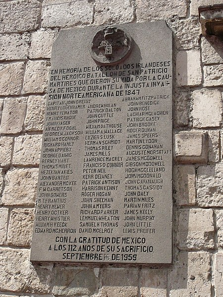 A plaque memorialising the San Patricios in Mexico.