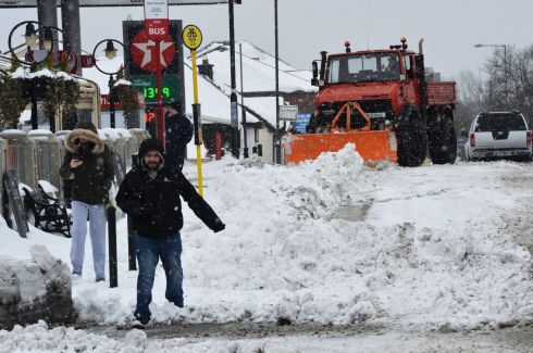 A Snow Plough clearing main street Clonee , Co. Meath. Photograph: Alan Betson / The Irish Times