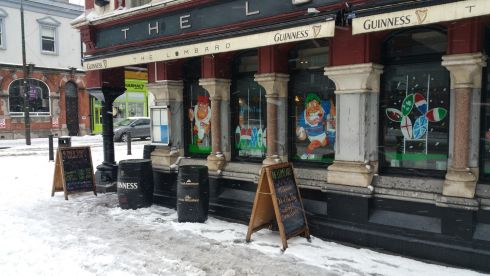 A pub open for business on Pearse Street Dublin. Photograph: Frank Miller / The Irish Times