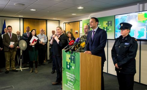Taoiseach Leo Varadkar TD photographed at the National Emergency Co-ordination Centre at Agriculture House Dublin where he discussed weather updates on Storm Emma. Photograph: Brenda Fitzsimons / The Irish Times