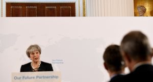 British prime minister Theresa May said she believes a broad and deep free trade agreement will be achievable between Britain and the EU. Photograph:  Getty Images