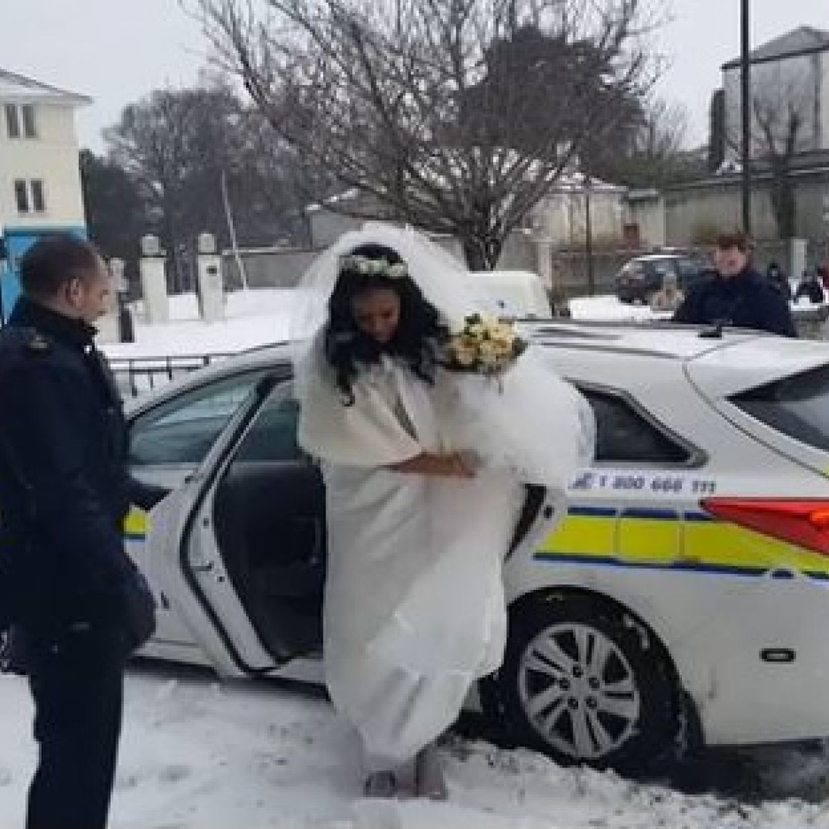 Bride Makes It To The Church In Time In The Back Of A Squad Car
