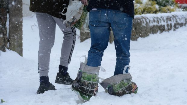 Snow shoes on the Stillorgan Road. Photograph: Cyril Byrne / The Irish Times