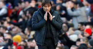 Antonio Conte takes his Chelsea side to play Man City on Sunday. Photograph: Martin Rickett/PA