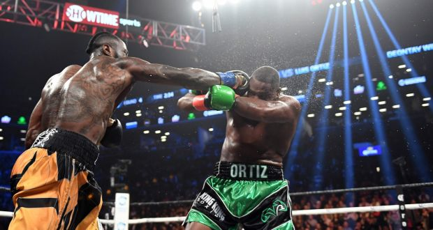 161eb808669b Deontay Wilder knocked Luis Ortiz out in the 10th round in New York.  Photograph: