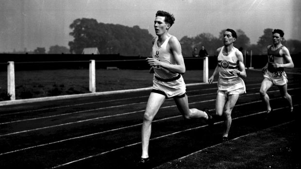 Roger Bannister representing Oxford University in 1948. Photograph: PA