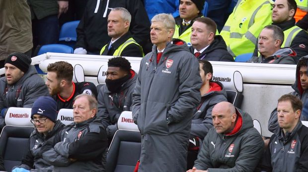 Arsene Wenger saw his side lose a fourth successive match. Photograph: Gareth Fuller/PA