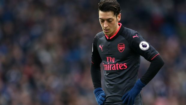 Mesut Ozil during Arsenal's 2-1 defeat to Brighton. Photograph: Catherine Ivill/Getty