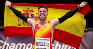 Spain's Oscar Husillos celebrates winning the Men's 400 Metre final at the World Indoor Athletics Championships – but he was later disqualified for lane infringement. Photograph: John Sibley/Reuters