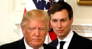 President Donald Trump and his senior adviser Jared Kushner, whose limited security access gave him material for a gag. Photograph: Kevin Lamarque