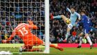 Bernardo Silva scores Manchester City's winner against Chelsea. Photograph: Andrew Yates/Reuters