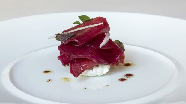McNally Farm candy beetroot with Wildwood raspberry vinegar and St Tola goats' cheese. Photograph: Paul Sherwood