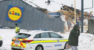 Looted Lidl: the supermarket on Fortunestown Lane in Tallaght. Photograph: Stephen Collins/Collins
