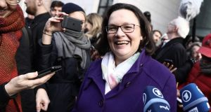 Andrea Nahles, designated SPD leader, announcing that the party has approved a plan to join Angela Merkel's coalition. Photograph: Getty Images