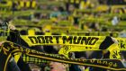 Borussia Dortmund: the club aren't selling half-and-half scarves for their Europa League match against Red Bull Salzburg. Photograph: TF-Images via Getty
