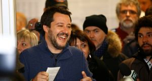 Northern League party leader Matteo Salvini arrives to casts his vote at a polling station in Milan, Italy. Photograph: Stefano Rellandini/Reuters