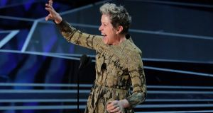 Frances McDormand accepts the Best Actress Oscar for her performance in 'Three Billboards Outside Ebbing, Missouri'. REUTERS/Lucas Jackson