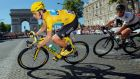 Bradley Wiggins during the final stage of the 2012 Tour de France, from Rambouillet to the Champs-Elysees. Photograph: Doug Pensinger/Getty Images