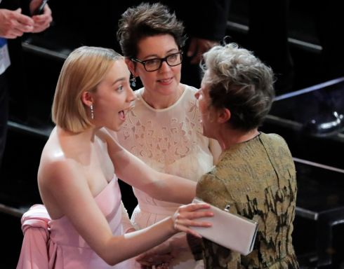 "90th Academy Awards - Oscars Show - Hollywood, California - Actress Saoirse Ronan (L) and her mother Monica greet Frances McDormand (R), who won the Best Actress Oscar for ""Three Billboards outside Ebbing, Missouri."" Photograph: Lucas Jackson / Reuters"