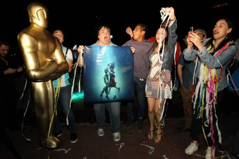 "Fans of Mexican director Guillermo del Toro celebrate at La Minerva square, in Guadalajara, Jalisco State  after del Toro won the Oscar for ""The Shape of Water.""Photograph: Ulises Ruiz / AFP"