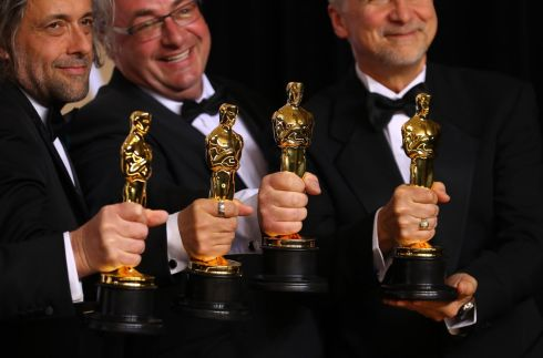"90th Academy Awards - Oscars Backstage - Hollywood- - John Nelson, Gerd Nefzer, Paul Lambert and Richard R. Hoover  win the Best Visual Effects Award for the film ""Blade Runner 2049"". Photograph:Mike Blake / Reuters"