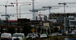 Cranes over the south Dublin docklands. Photograph: Cyril Byrne