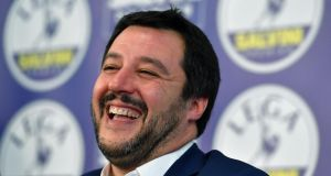 Matteo Salvini of Lega pictured during a press conference at the party's headquarter in Milan on Monday. Photograph: Daniel Dalzennaro/EPA