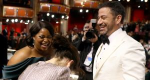 Octavia Spencer, Sally Hawkins and Jimmy Kimmel attend the 90th Annual Academy Awards at the Dolby Theatre on March 4, 2018 in Hollywood, California. Photograph:  Matt Sayles