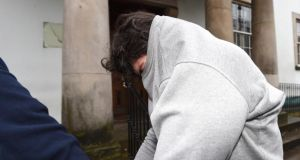 Daniel Allen (27) leaves Enniskillen Magistrates' Court where he was charged with murdering four people following a  fire at house on Molly Road in Derrylin last weke. Photograph: PA Wire.